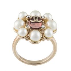 Gold Pearl CC Ring