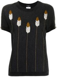 Feather Embroidery Cashmere Top