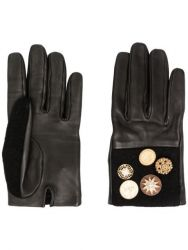 Chanel Leather Gloves Black/Brown Star Buttons