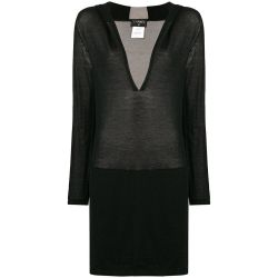 Chanel Long Black Hooded Lounge Top