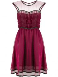 Chanel Silk Leather Trim Tulle Dress