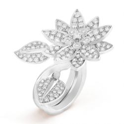 Chanel Vintage 18K White Gold Cocktail Rose Ring