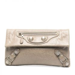 Balenciaga Silver and Grey Envelope Clutch