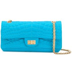 Chanel Turquoise Satin East West Reissue Flap Bag