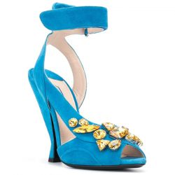 Prada Blue Suede Embellished Pumps