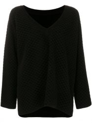 Alaia Black Chunky V Neck Jumper