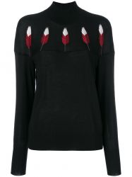 Chanel Black Cashmere Feather Embroidered Turtleneck
