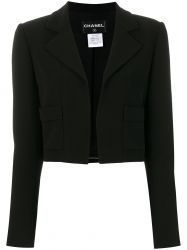 Chanel Black Silk Cropped Jacket