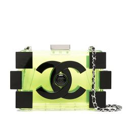 Chanel Translucent Green Lucite Lego Clutch