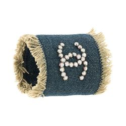 Chanel Blue Denim Cuff Bracelet