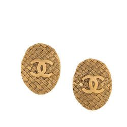 Vintage Chanel Logo Earrings