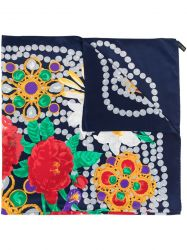 Chanel Navy Gripoix & Pearl Necklace Camellia & Lily Pattern Silk Scarf