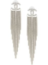 Chanel Silver Chain Tassel Earrings