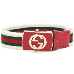 Gucci Striped Web Belt