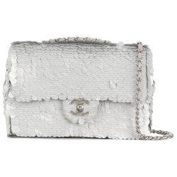 Chanel Silver Sequin Flap Bag
