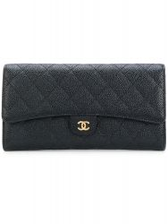 Vintage Chanel Black Quilted Caviar Leather Wallet