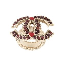 Chanel Gold and Red Logo Ring