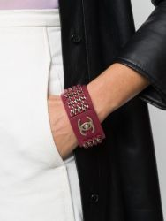 Chanel CC Pink Leather Bracelet