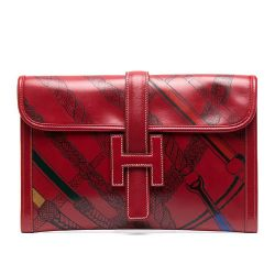 Hermes Jige Red Leather Clutch