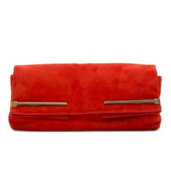 Lanvin Red Goatskin Suede Clutch