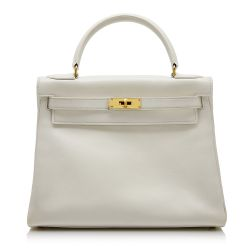 Hermès White Gulliver 28cm Kelly Bag