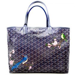 Goyard Navy Blue St Louis PM Tote Bag - customised with Birds