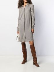 Hermes Grey Silk-Cashmere Shirt Dress