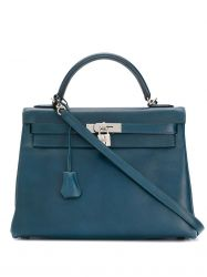 Hermes Blue de Malte 32cm Kelly Bag