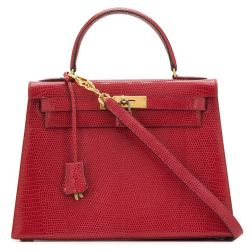 Hermès Red Lizard 28cm Kelly Sellier Bag