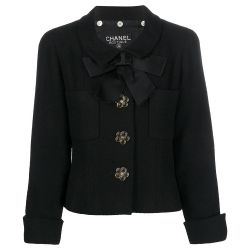 Chanel Black Velvet Ribbon Jacket