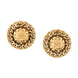Chanel Gold Chain Trim Earrings
