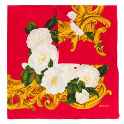 Chanel Red Camelia Print Scarf