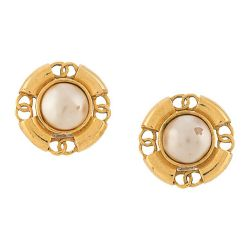 Chanel CC Pearl Button Earrings