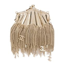 Chanel Gold Chain Tassel Shell Coin Purse