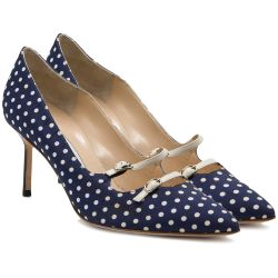 Manolo Blahnik Navy Polka Dot Pump