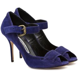 Manolo Blahnik Purple Strapped Pumps
