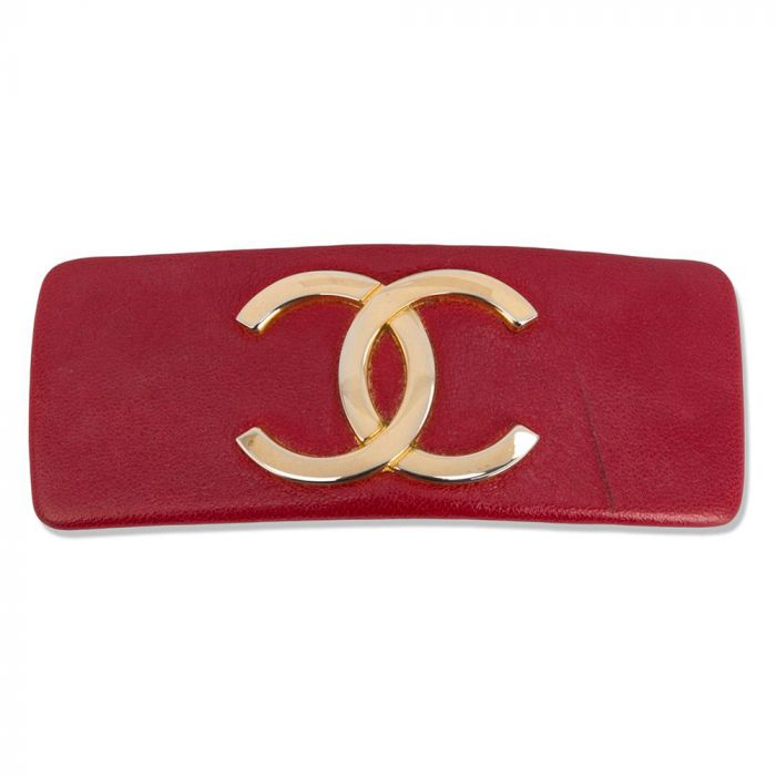 Chanel Red CC Logo Hair Barette SOLD