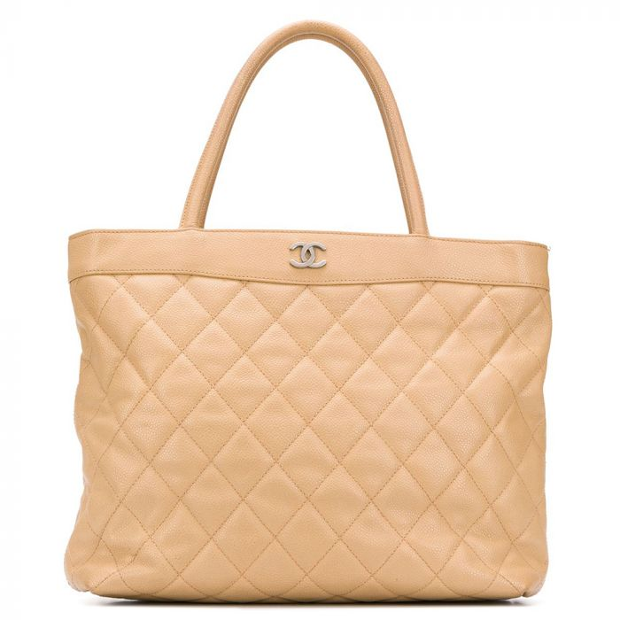 Chanel Beige Quilted CC Shopper Bag SOLD