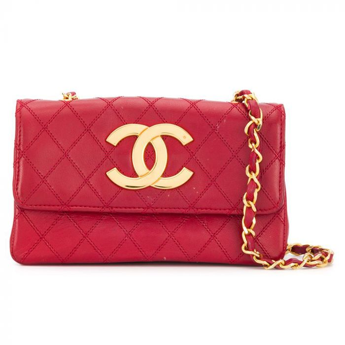 Chanel Red Leather CC Shoulder Bag