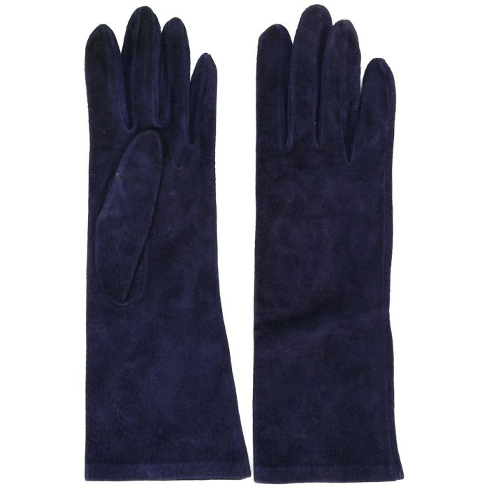 Yves Saint Laurent Rive Gauche Navy Suede Gloves