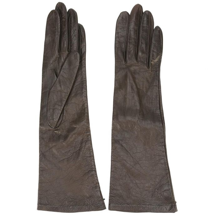 Yves Saint Laurent Rive Gauche Black Leather Gloves
