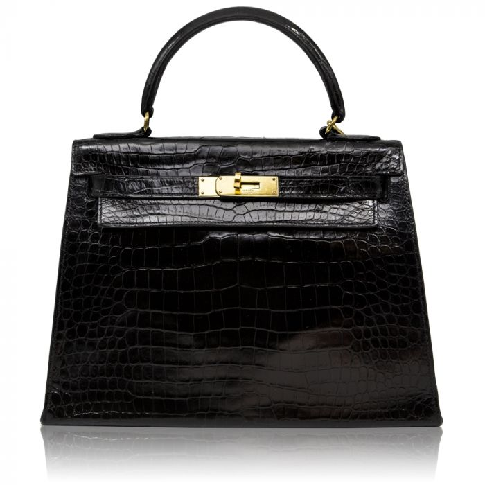 Hermès Black Crocodile 28cm Kelly Sellier Bag SOLD