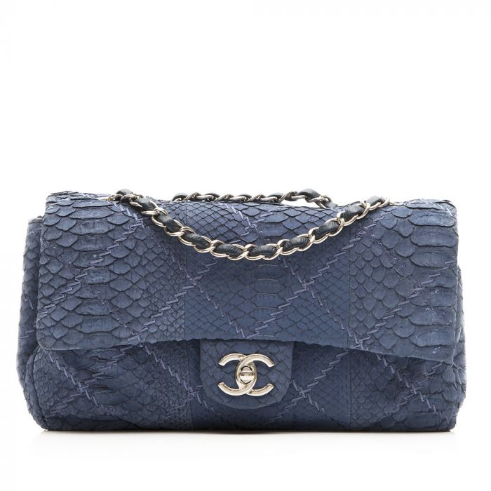 Chanel Blue Python 2.55 Flap Handbag SOLD