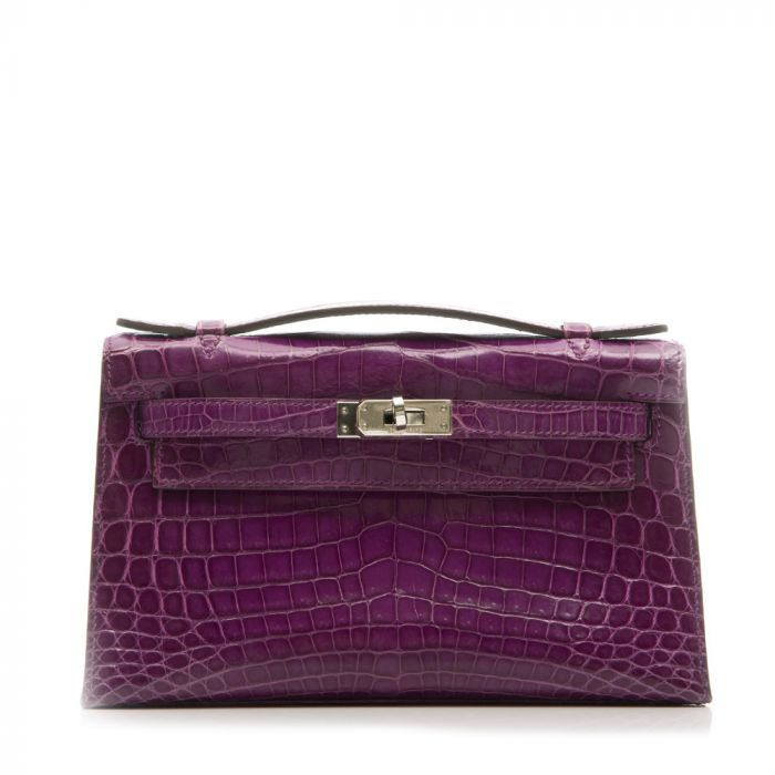 Hermes Anemone Niloticus Crocodile Kelly Pochette Bag SOLD