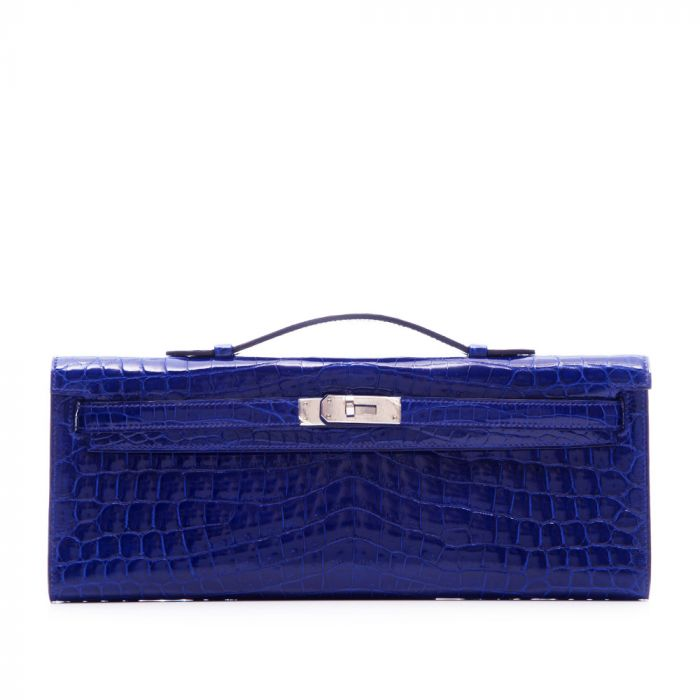 Hermes Electric Blue Niloticus Crocodile Kelly Cut Clutch SOLD