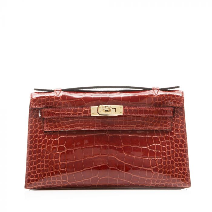 Hermes Brown Alligator Kelly Pochette Bag SOLD