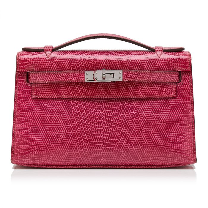 Hermès Fuchsia Lizard Kelly Pochette Bag SOLD