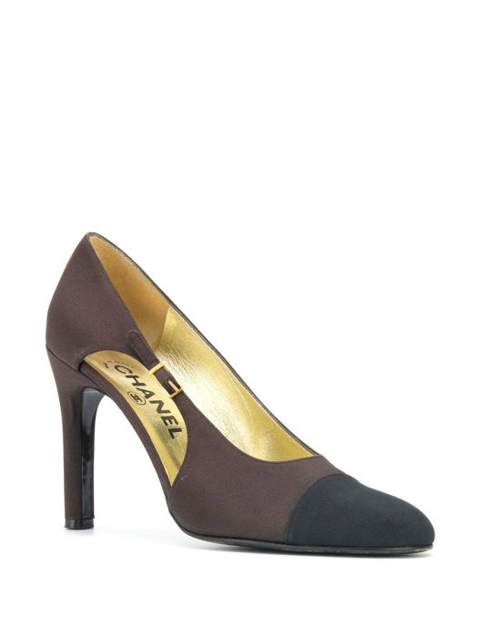 Chanel Brown Two-tone Crepe Pumps