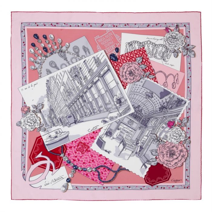 Cartier Pink and Red Pattern Silk Scarf