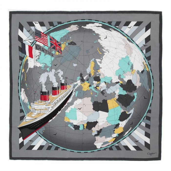 Cartier Grey and Blue Globe and Ship Silk Scarf